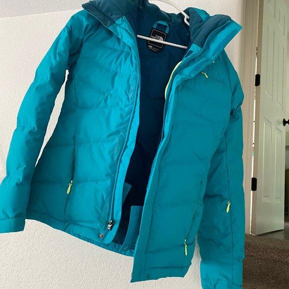 THe north face teal blue winter ski jacket